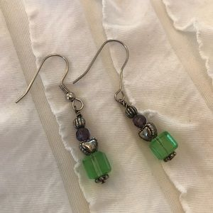 Jewelry - Handmade Green Purple Beaded Dangle Earrings